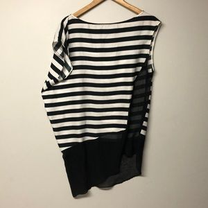 Zara Basic Stripe Long Sheer no Sleeve Top